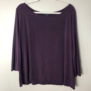 Eileen Fisher Purple Boat Neck Silk Blouse Size XL